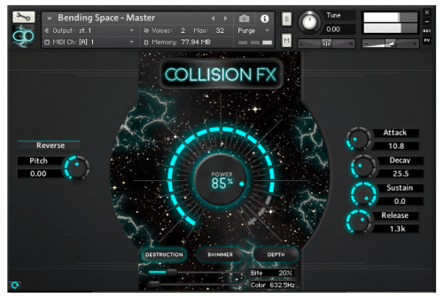Main Tab of Collision FX a Kontakt 5 plugin by Sound Yeti